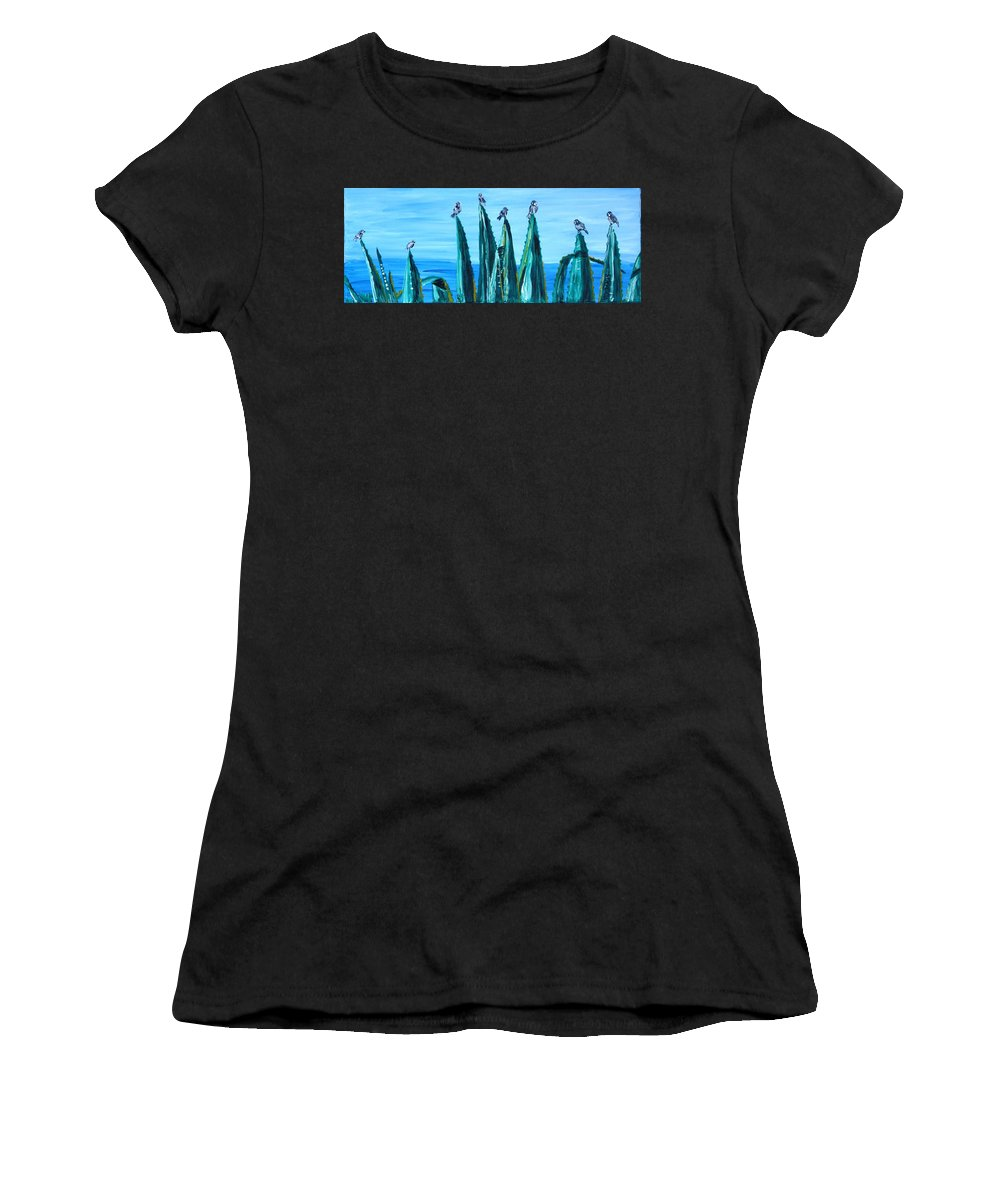 Landscape Women's T-Shirt (Athletic Fit) featuring the painting Agave With Sparrows by Valerie Ornstein