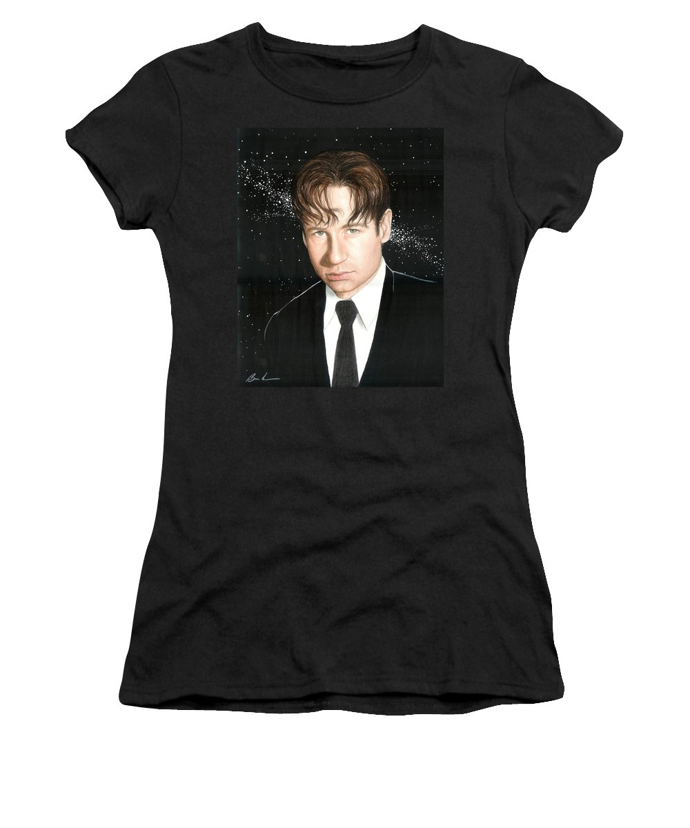 X Files Bruce Lennon David Ducouvney Art Tv Women's T-Shirt featuring the painting Agent Mulder by Bruce Lennon