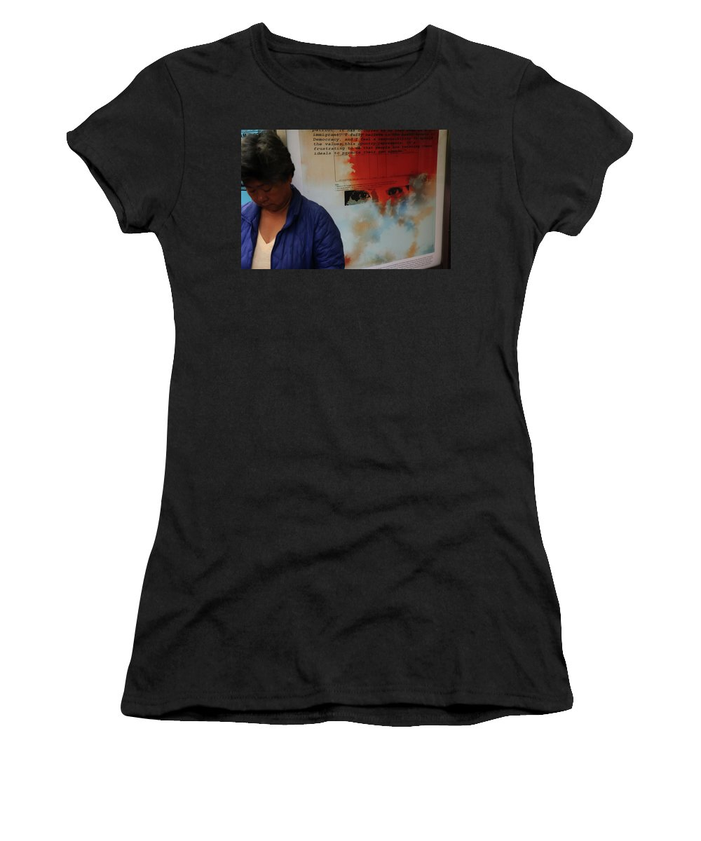 Street Photography Women's T-Shirt featuring the photograph Agreed To Agree by The Artist Project