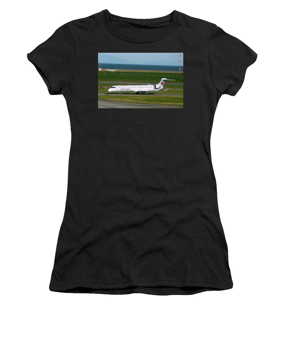 Air Canada Express Women's T-Shirt (Athletic Fit) featuring the photograph Air Canada Express Crj Taxis Into The Terminal by Darrell MacIver