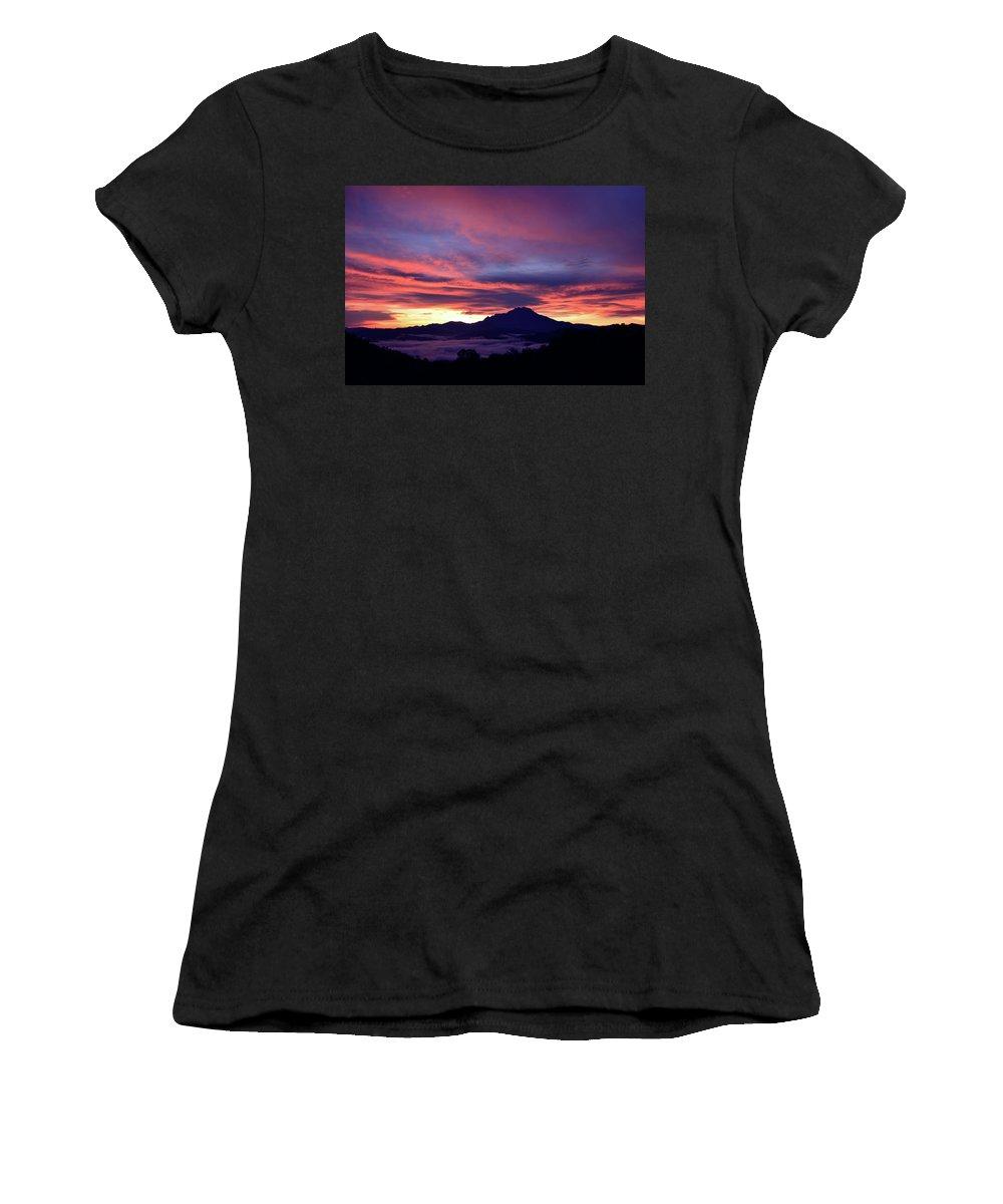 Sunrise Women's T-Shirt featuring the photograph Akinabalu 1 by Peter Gabriel