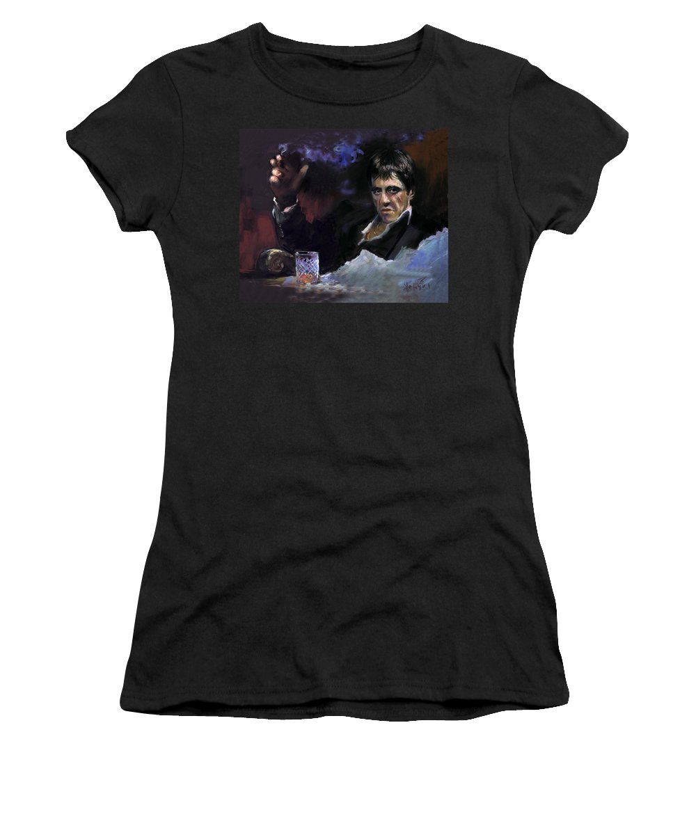 Al Pacino Women's T-Shirt (Athletic Fit) featuring the pastel Al Pacino Snow by Ylli Haruni