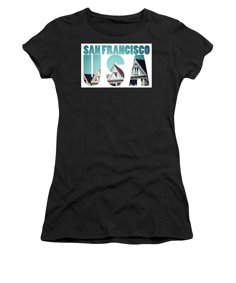 Alamo Women's T-Shirt (Athletic Fit) featuring the photograph Alamo Square, San Francisco, Usa by Mariusz Prusaczyk