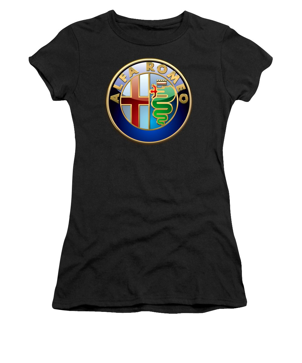 Wheels Of Fortune� Collection By Serge Averbukh Women's T-Shirt featuring the photograph Alfa Romeo - 3 D Badge On Black by Serge Averbukh