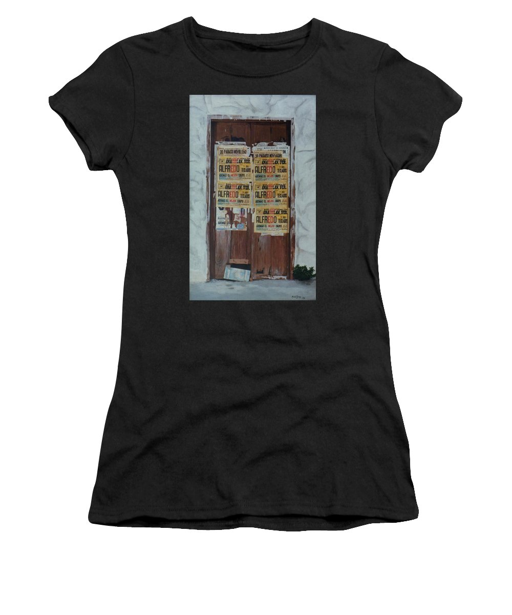 Hyperrealism Women's T-Shirt (Athletic Fit) featuring the painting Alfredo, Alfredo by Michael Earney