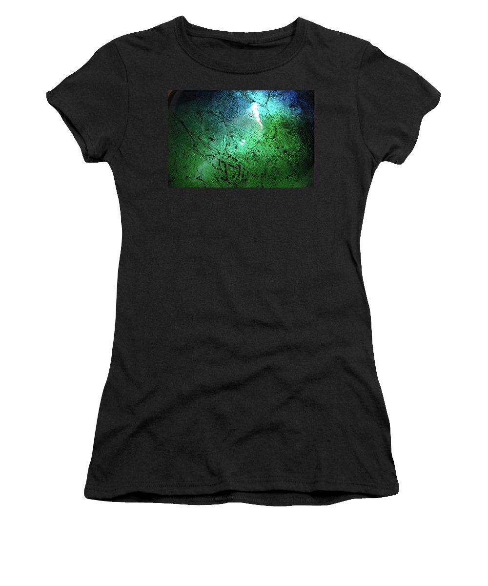 Green Women's T-Shirt (Athletic Fit) featuring the painting Alien Planet by Jerry McElroy