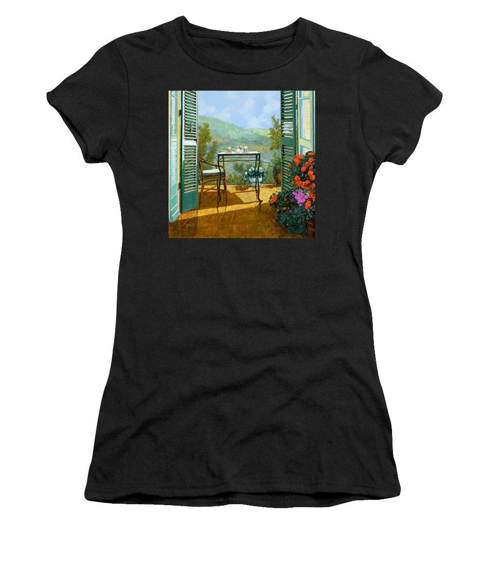 Terrace Women's T-Shirt (Athletic Fit) featuring the painting Alle Dieci Del Mattino by Guido Borelli