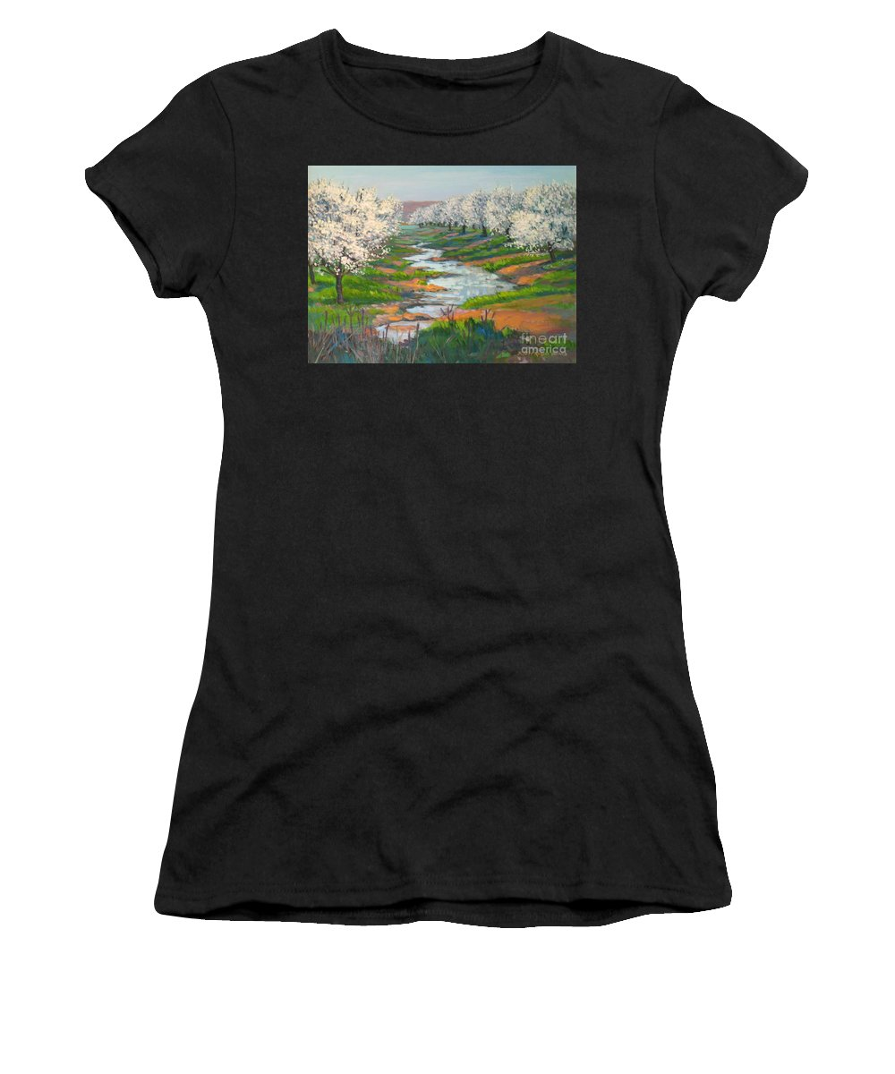 California Women's T-Shirt featuring the painting Almond Orchard In Bloom by Rhett Regina Owings