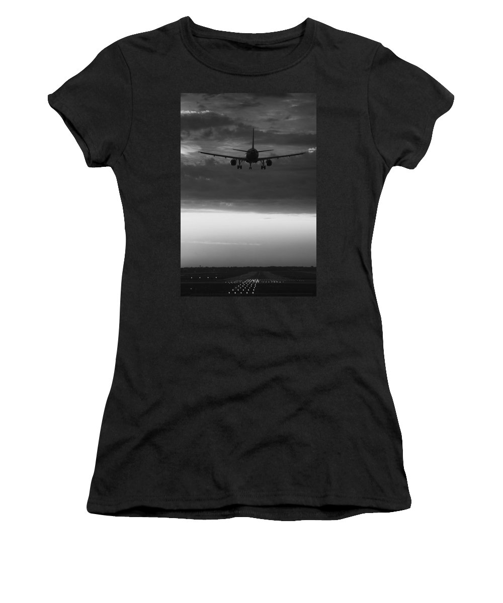 Plane Women's T-Shirt (Athletic Fit) featuring the photograph Almost Home by Andrew Soundarajan