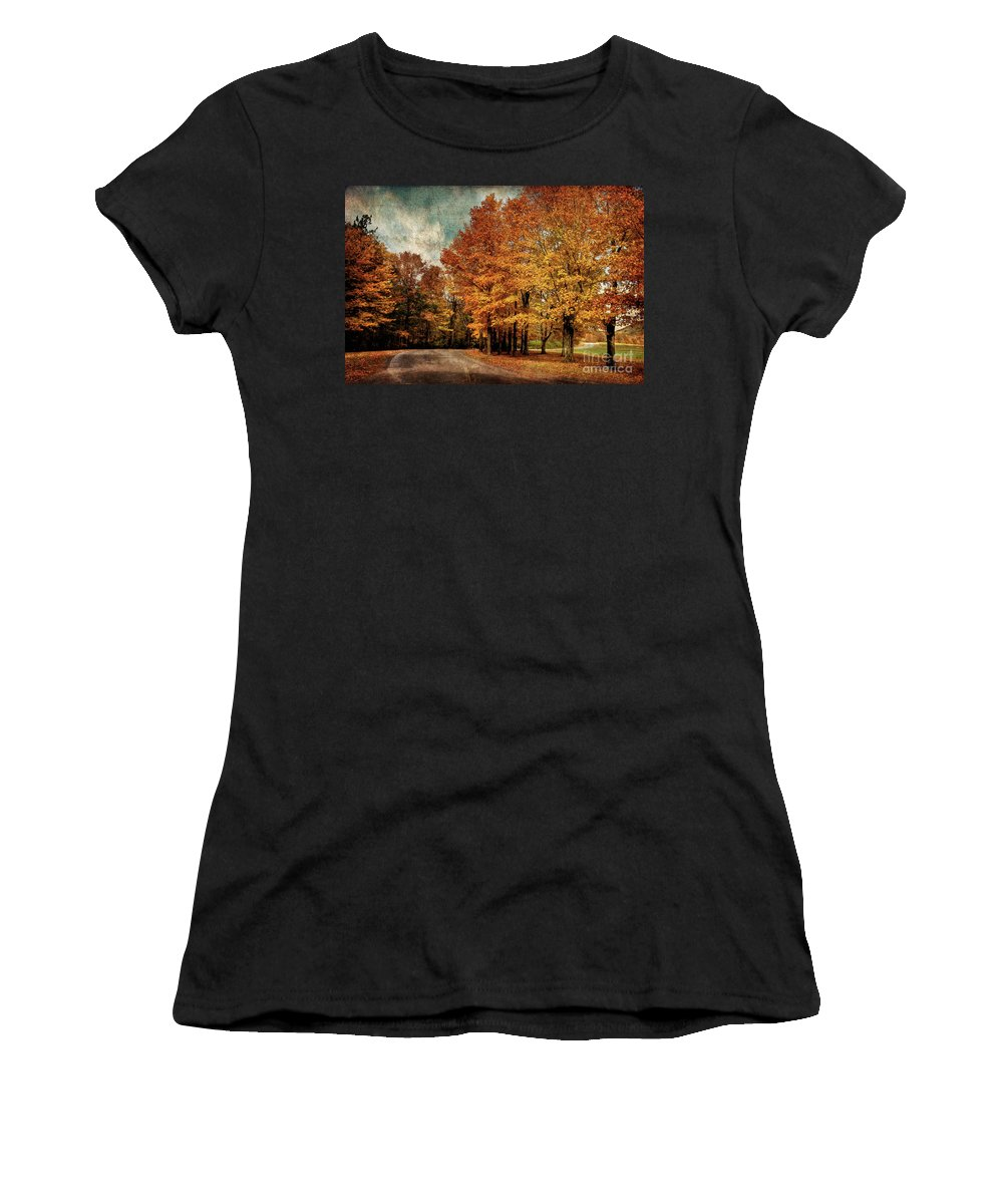 Country Road Women's T-Shirt (Athletic Fit) featuring the photograph Almost Home by Lois Bryan