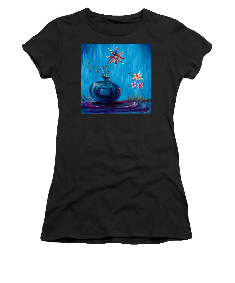 Fantasy Floral Scape Women's T-Shirt (Athletic Fit) featuring the painting Aloha Rain by Jennifer McDuffie