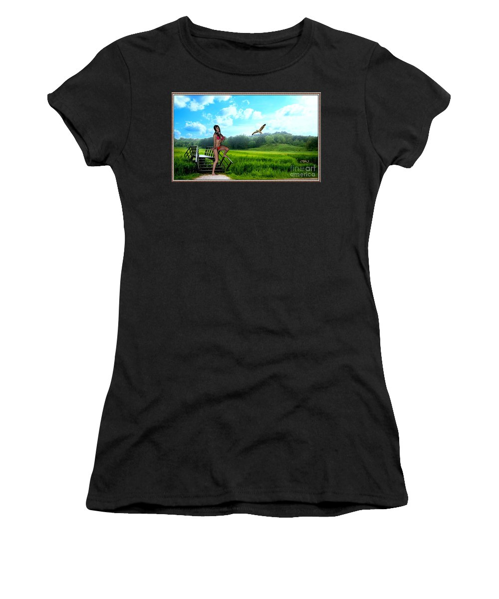 Modern Painting Women's T-Shirt (Athletic Fit) featuring the mixed media Alone In The Field by Pemaro
