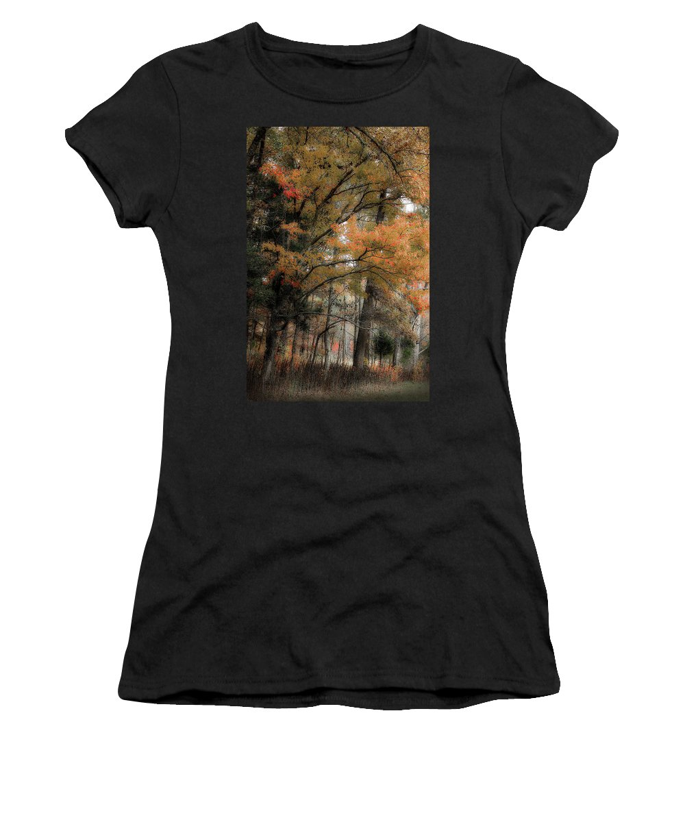 Fall Trees Women's T-Shirt (Athletic Fit) featuring the photograph Along The Edge Of October by Michael Eingle