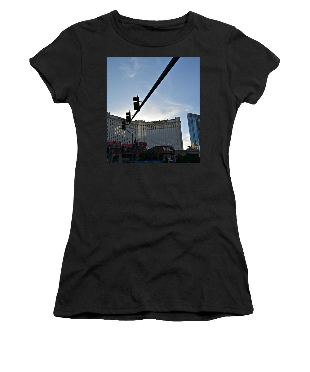 Los Vegas Women's T-Shirt featuring the photograph Along The Vegas Strip by Amanda Kessel