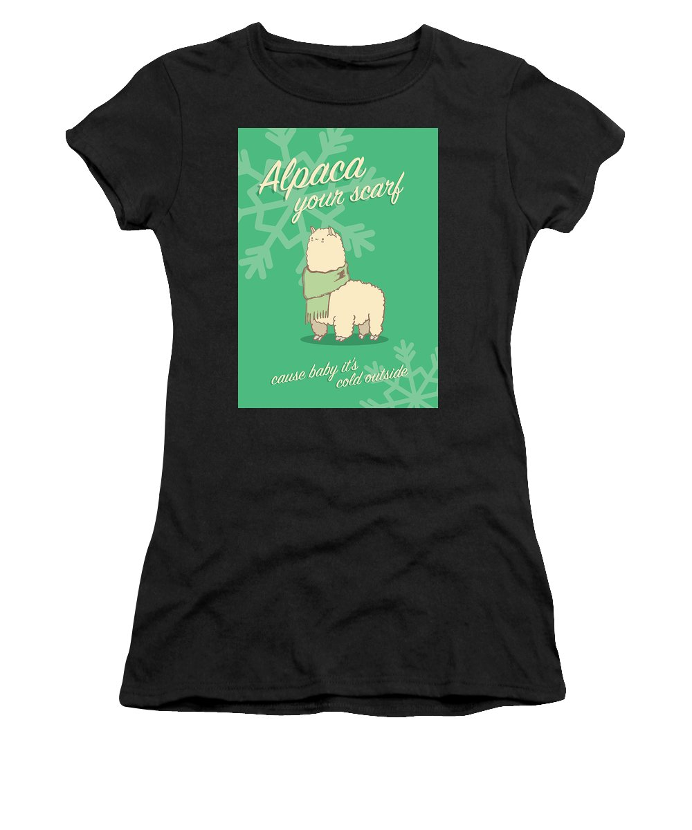 Happy Women's T-Shirt (Athletic Fit) featuring the digital art Alpaca Your Scarf by Tanner Thompson and Matthew Nightingale