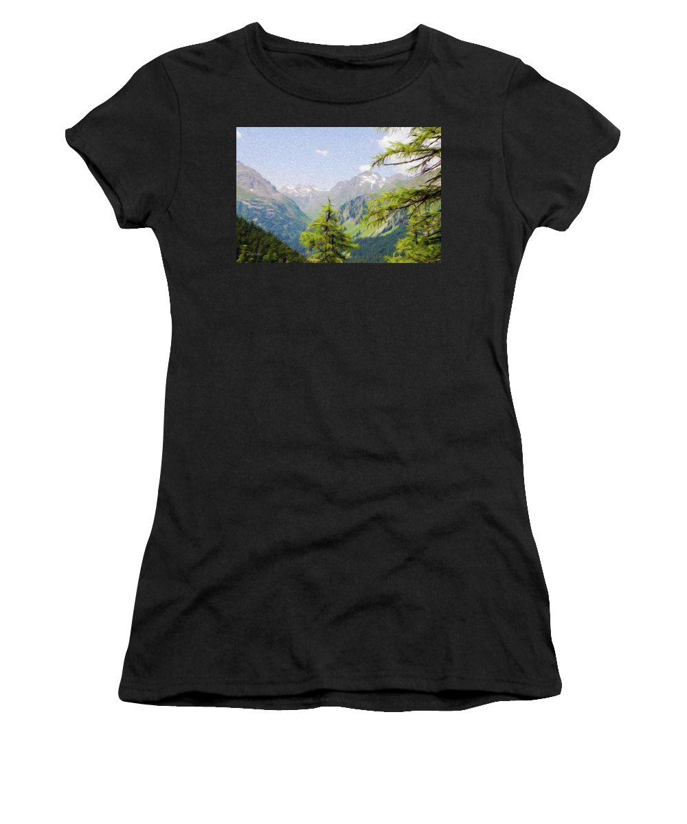 Alpine Women's T-Shirt (Athletic Fit) featuring the painting Alpine Altitude by Jeffrey Kolker