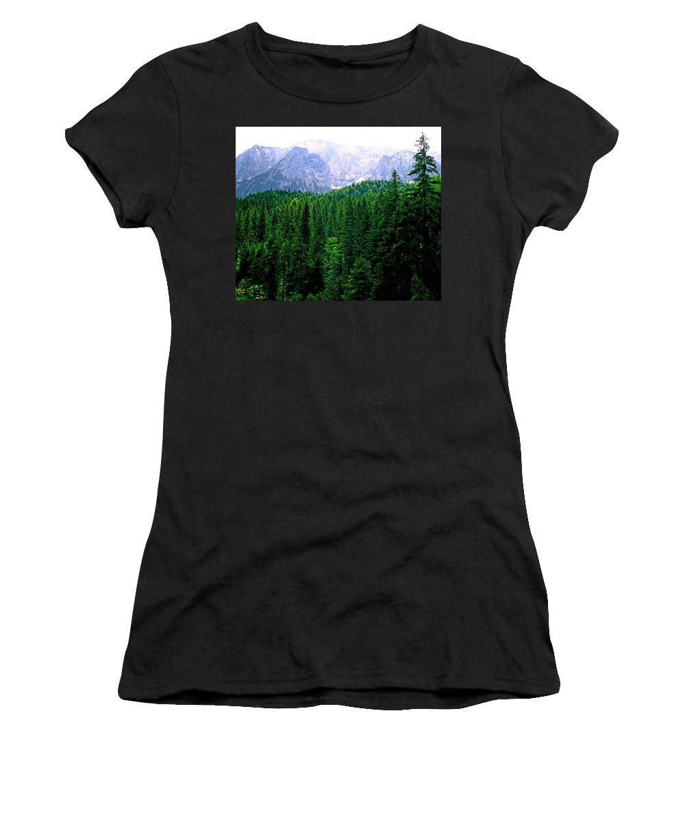 Bavaria Women's T-Shirt (Athletic Fit) featuring the photograph Alpine Forest by Kevin Smith