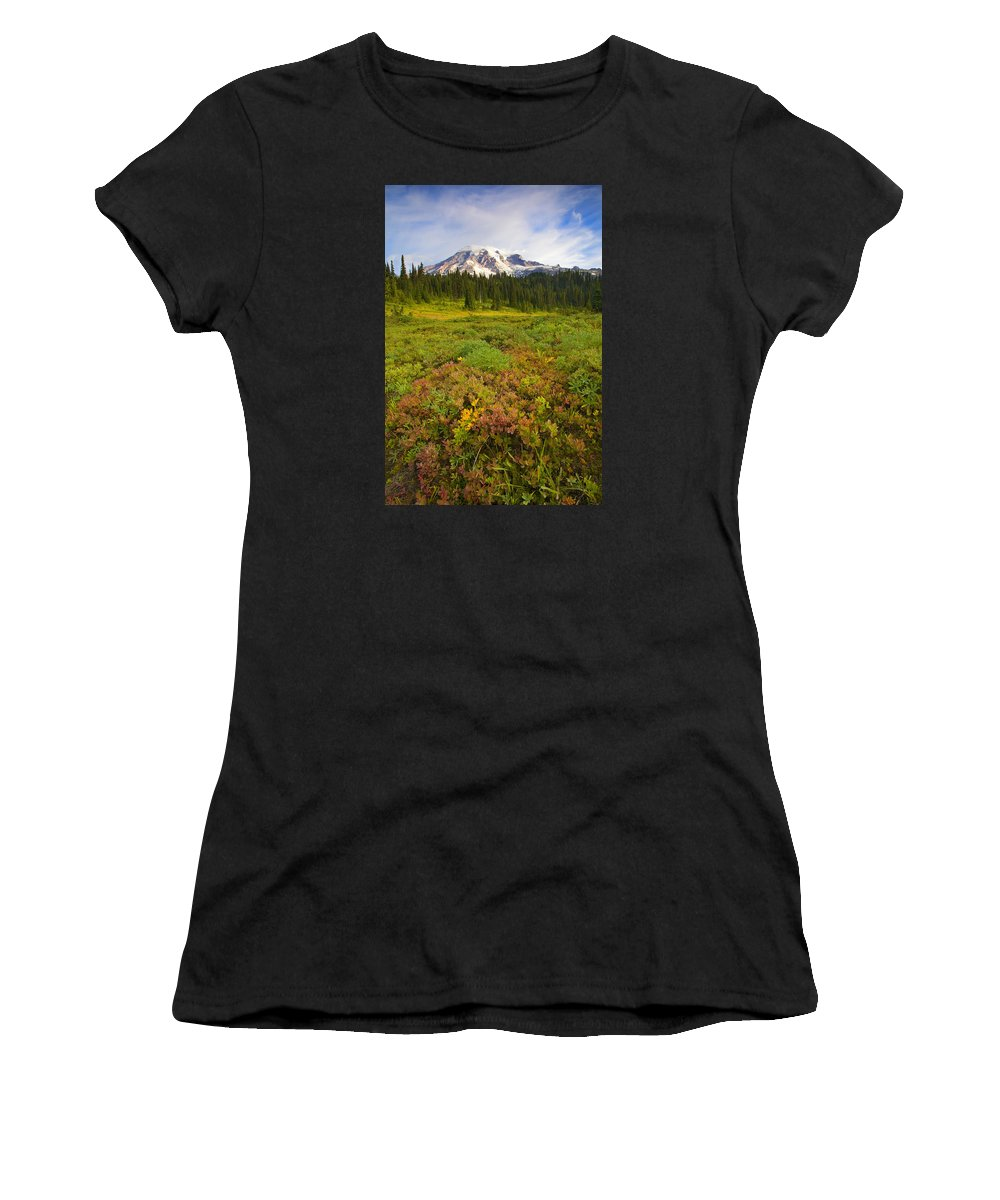 Mt. Rainier Women's T-Shirt (Athletic Fit) featuring the photograph Alpine Meadows by Mike Dawson