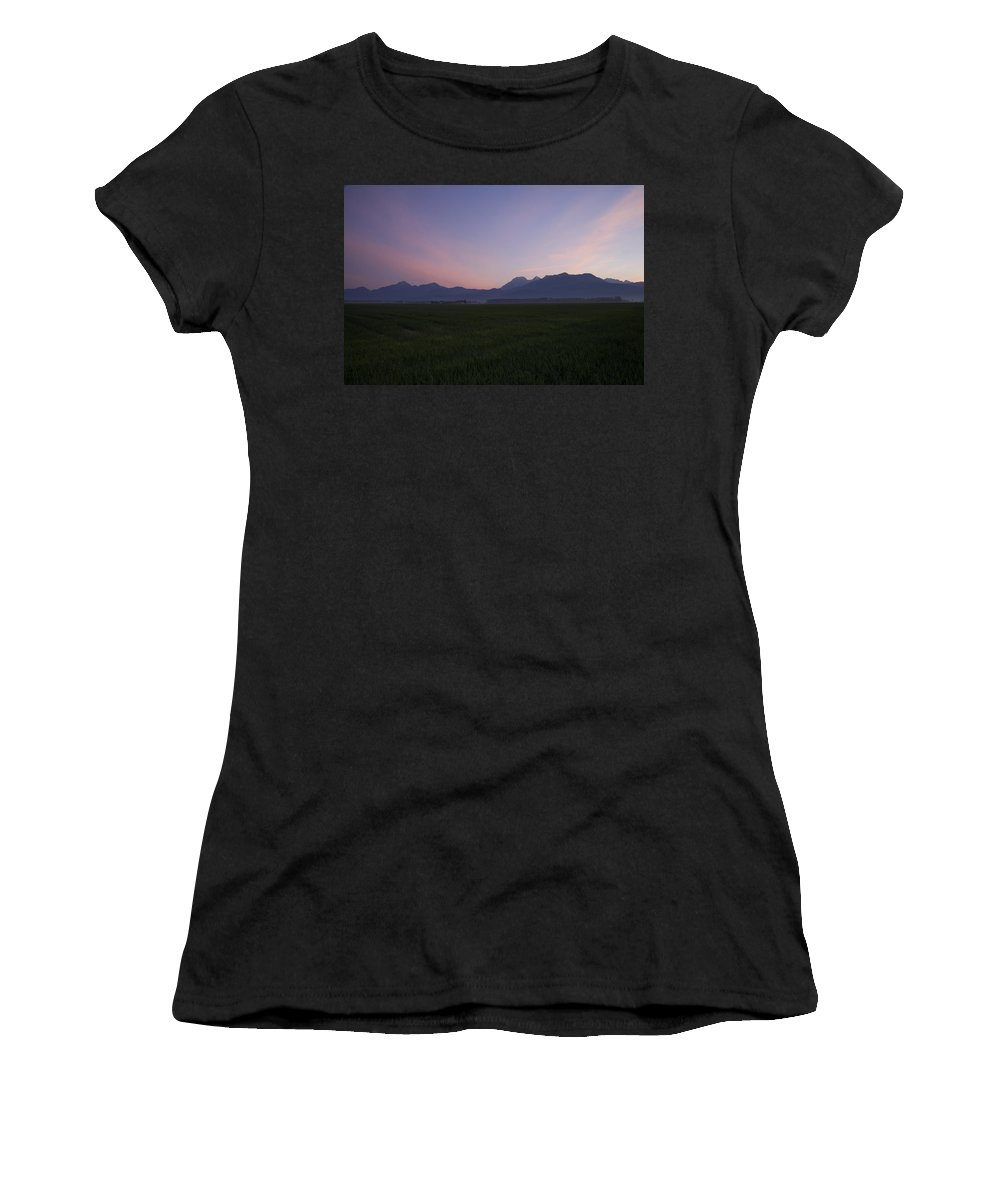 Brnik Women's T-Shirt (Athletic Fit) featuring the photograph Alps At Dawn by Ian Middleton