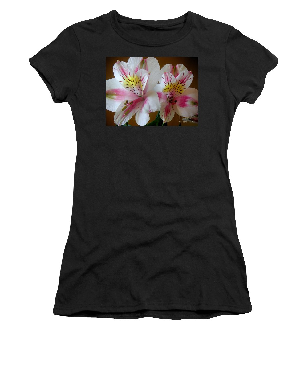 Nature Women's T-Shirt (Athletic Fit) featuring the photograph Alstroemerias - Heralding by Lucyna A M Green