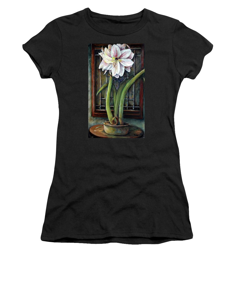 Amaryllis Window Stain Glass White Magenta Green Vase Women's T-Shirt (Athletic Fit) featuring the painting Amaryllis In The Window by Bernadette Krupa
