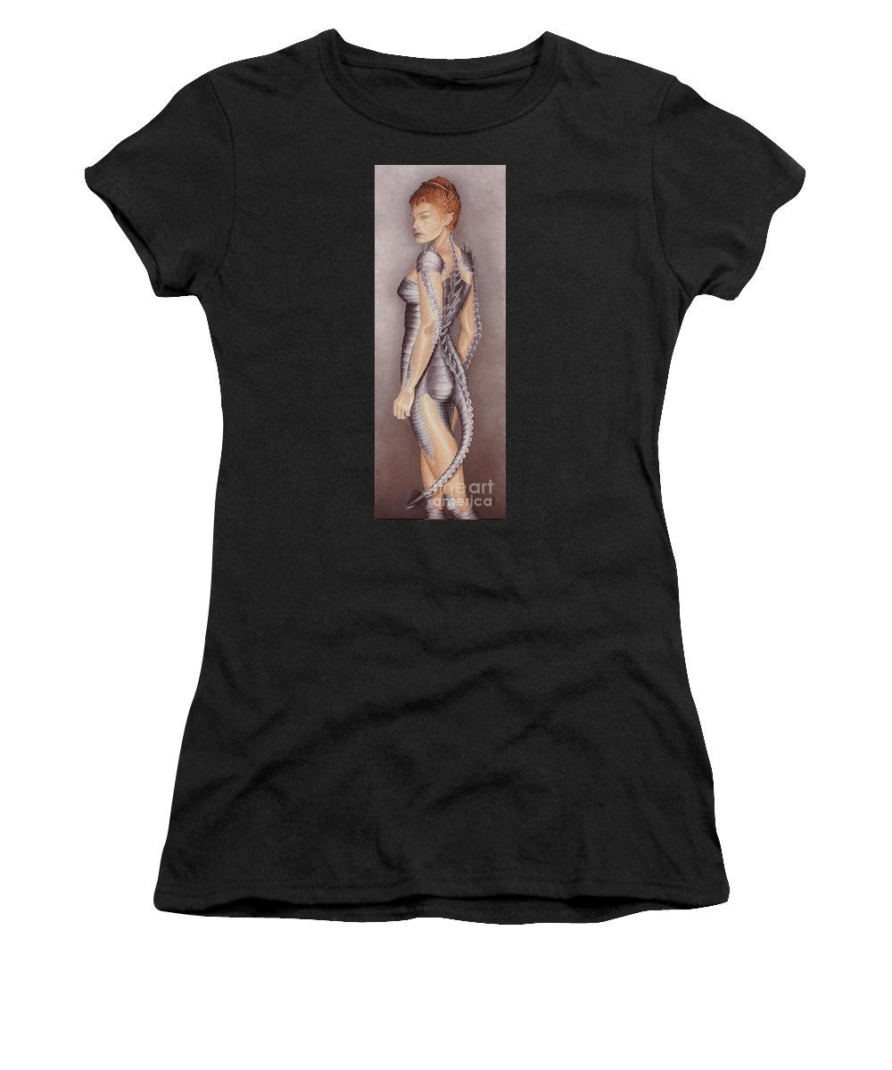 Portrait Women's T-Shirt (Athletic Fit) featuring the painting Amazon Scorpio by Pauline Sharp