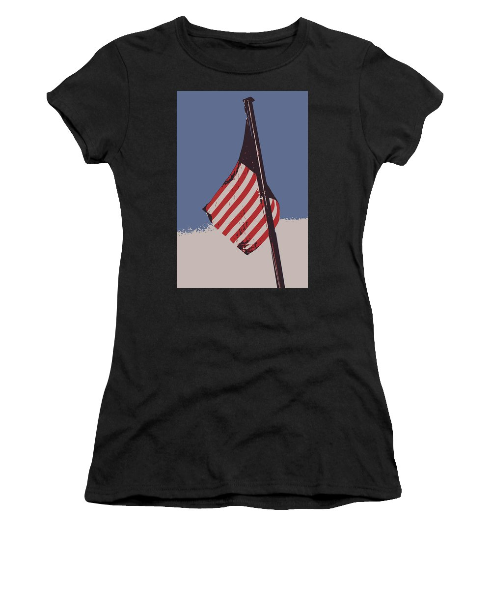 American Flag Women's T-Shirt (Athletic Fit) featuring the photograph Amercan Flag by Kimberly Curry
