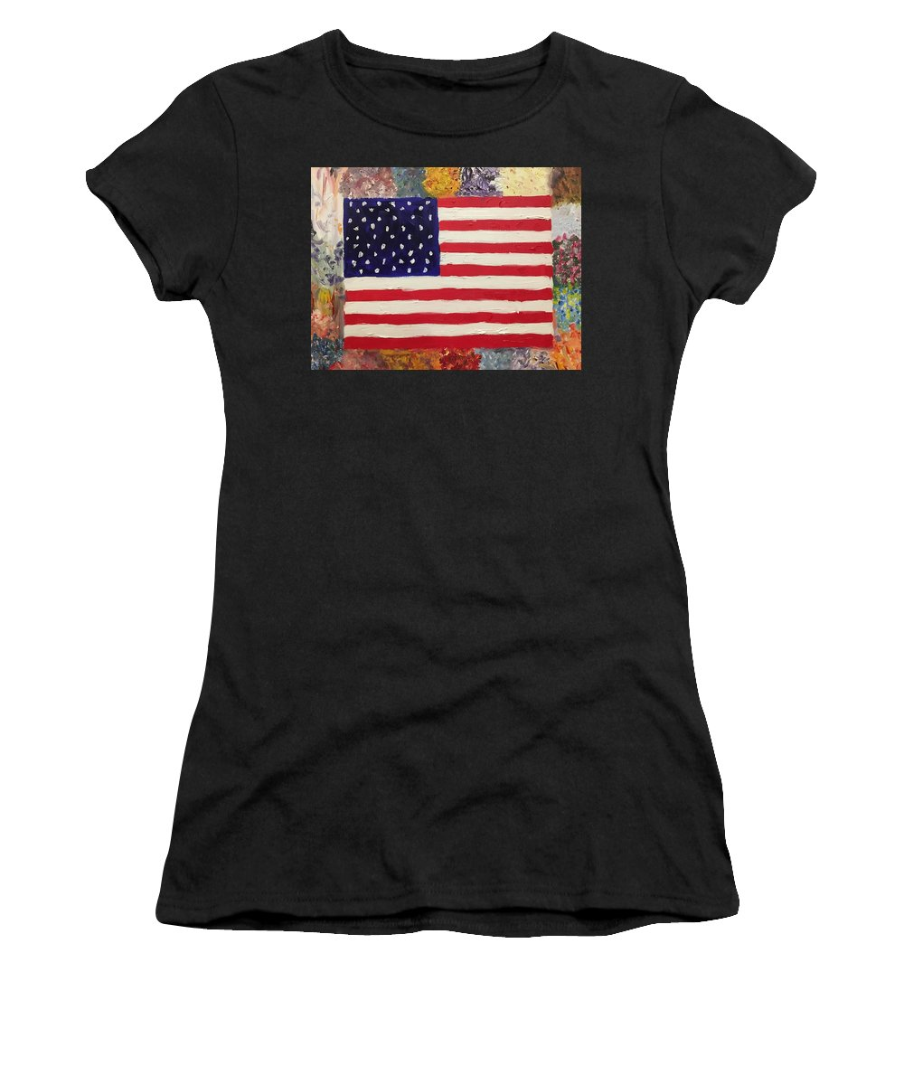 American Flag Women's T-Shirt (Athletic Fit) featuring the painting American Elegy by Lisa Cannon