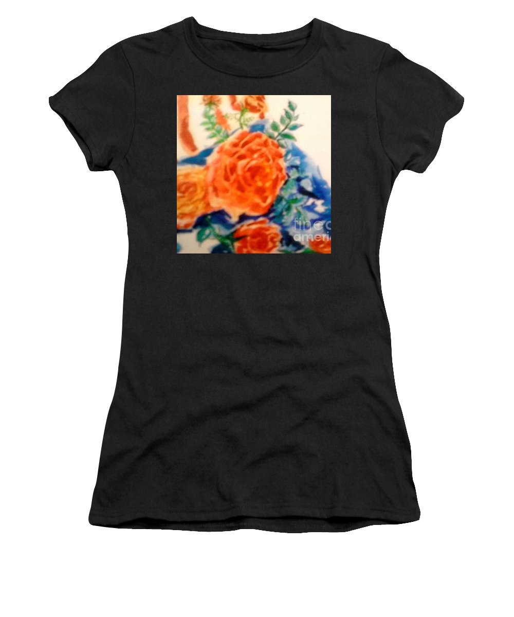 Red Roses On An American Flag Women's T-Shirt featuring the painting American Flag With Red Roses by Patricia Ducher