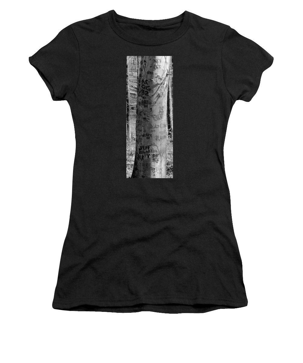 American Women's T-Shirt (Athletic Fit) featuring the photograph American Graffiti 5 Tattoos For Trees by Ed Smith