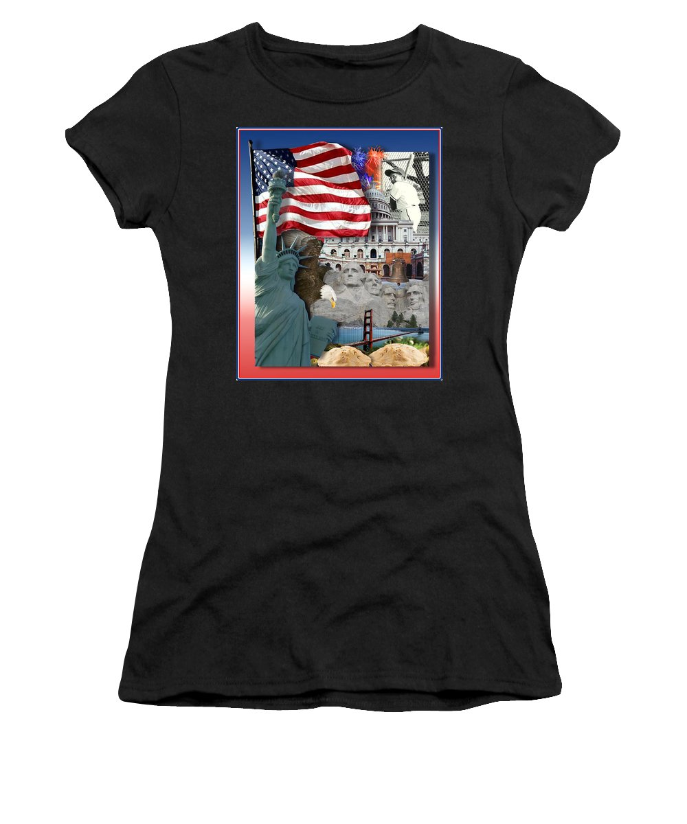 Independence Day Women's T-Shirt (Athletic Fit) featuring the photograph American Symbolicism by Gravityx9 Designs