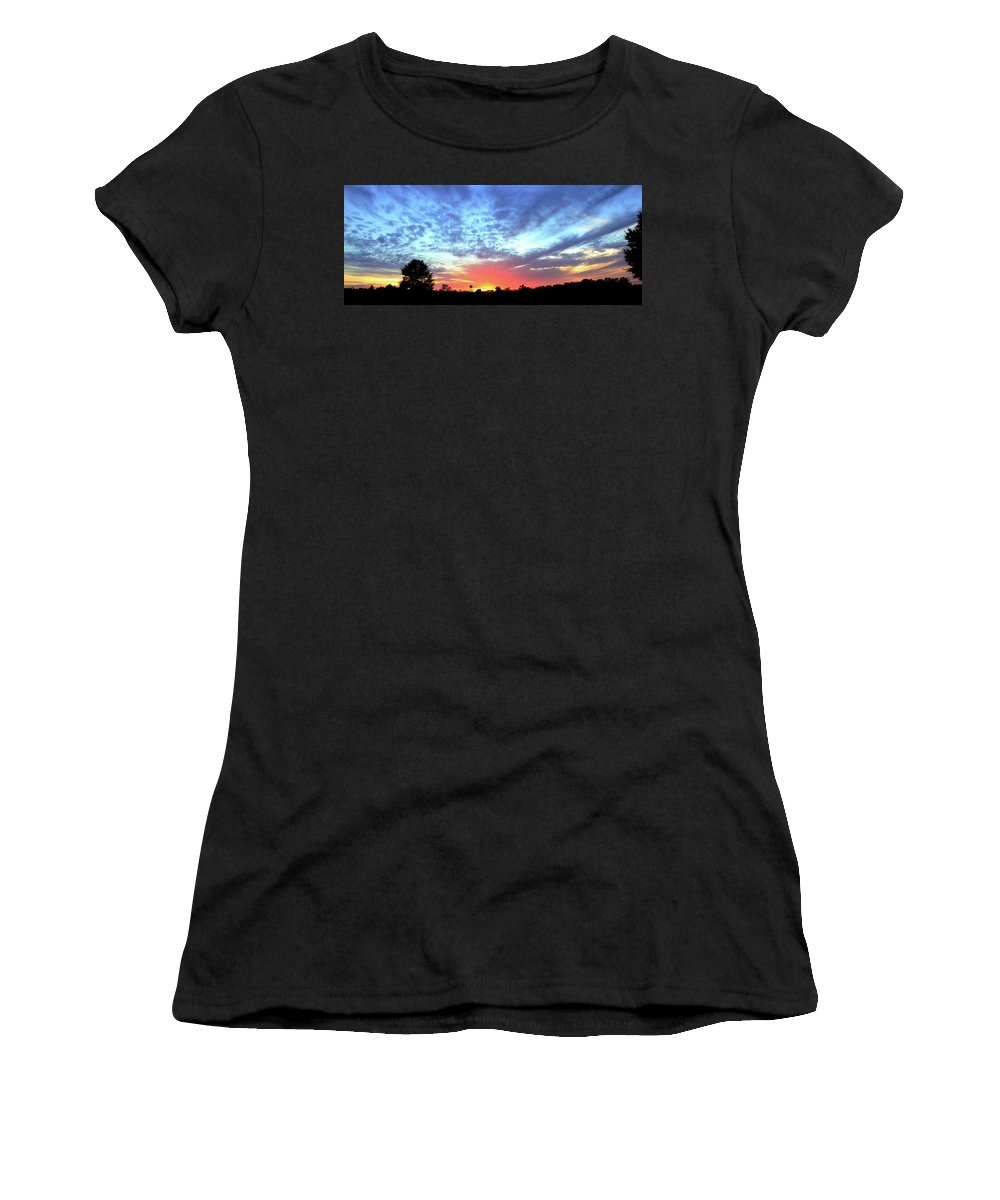 Sunset Women's T-Shirt (Athletic Fit) featuring the photograph City On A Hill - Americus, Ga Sunset by Jerry Battle