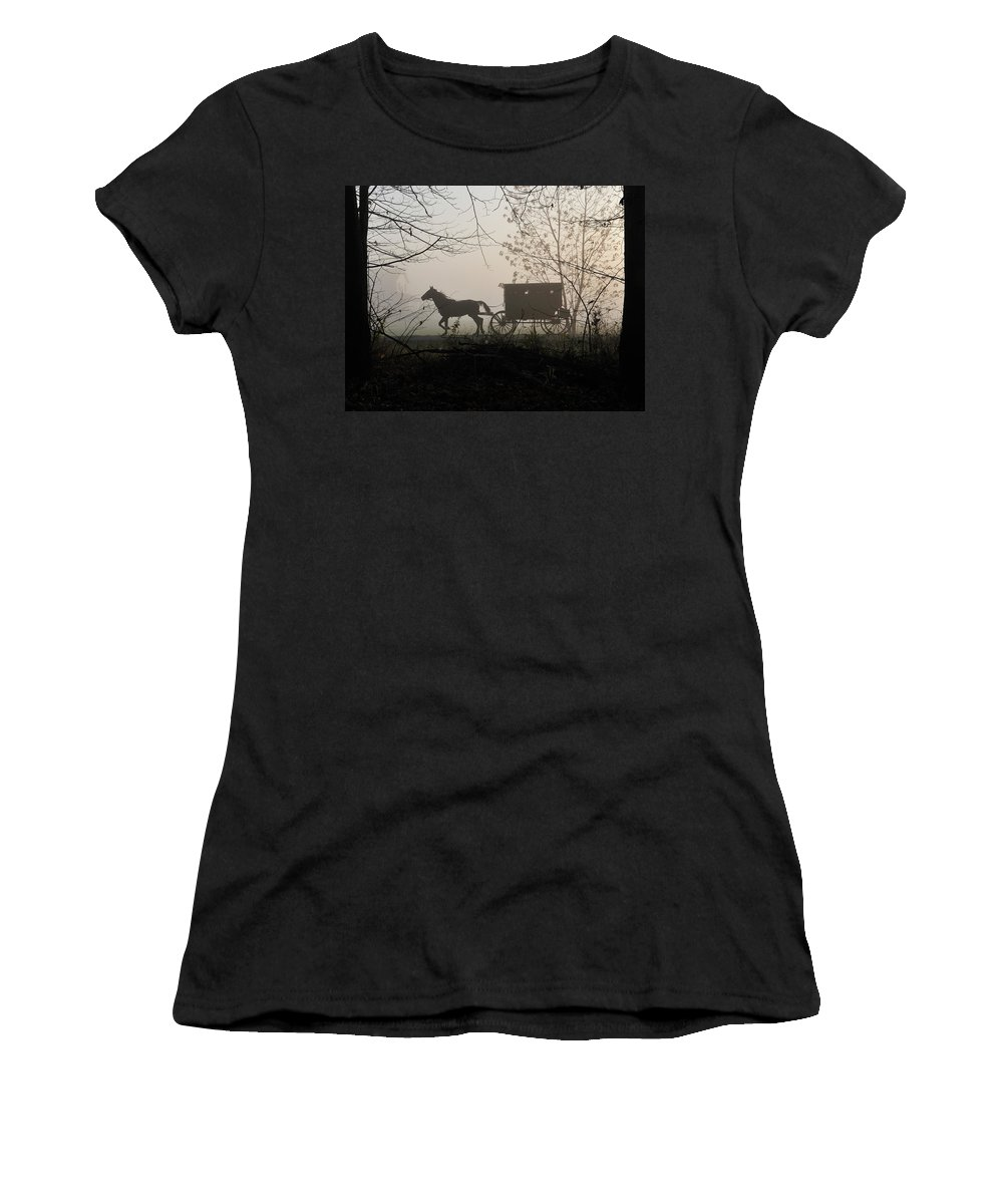 Amish Women's T-Shirt (Athletic Fit) featuring the photograph Amish Buggy Foggy Sunday by David Arment
