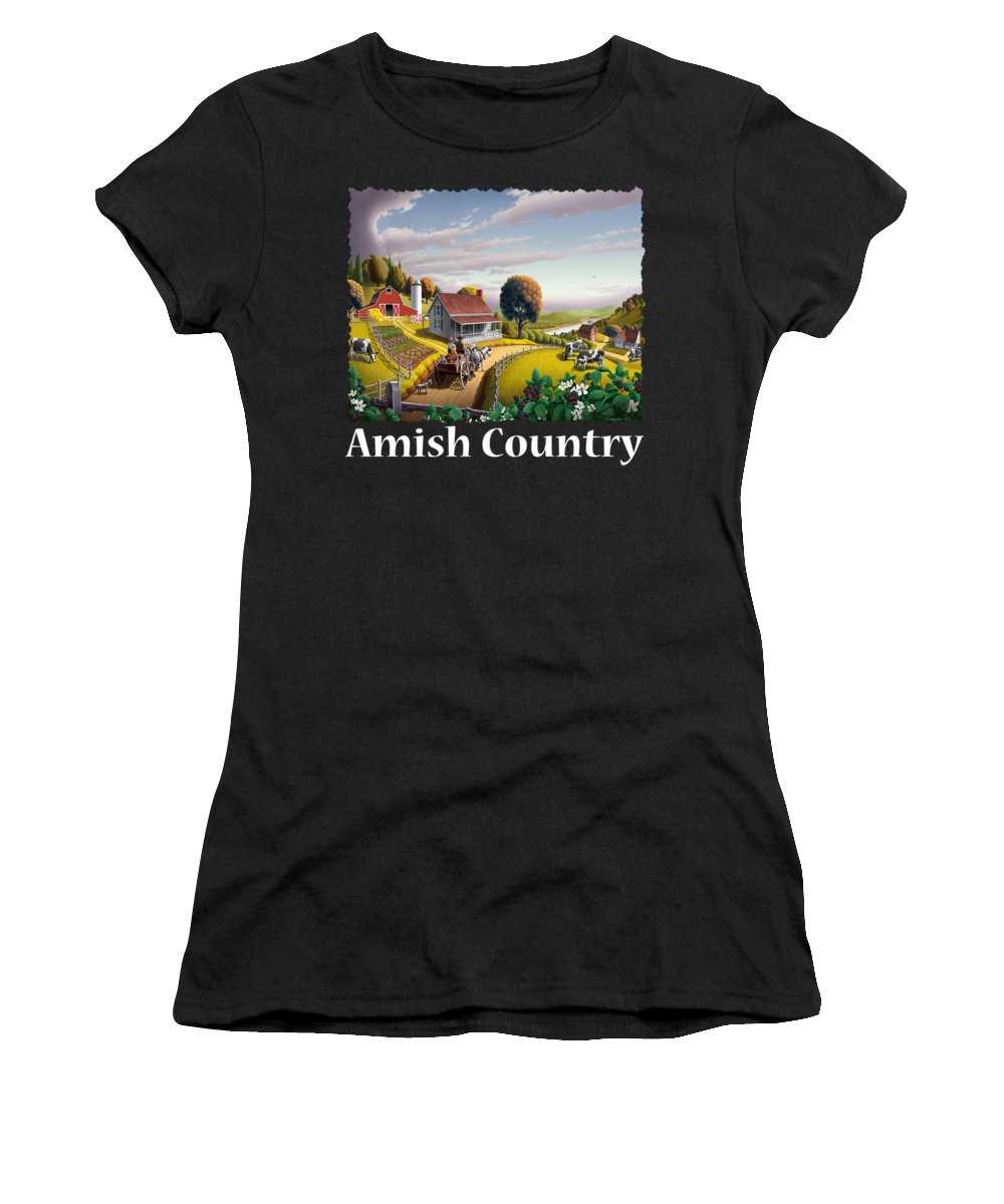 Appalachian Women's T-Shirt featuring the painting Amish Country T Shirt - Appalachian Blackberry Patch Country Farm Landscape by Walt Curlee
