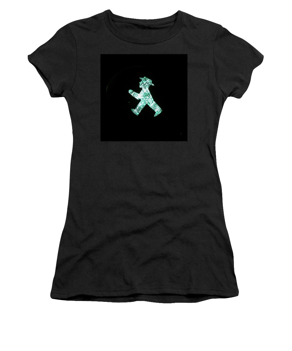 Berlin Women's T-Shirt (Athletic Fit) featuring the photograph Ampelmann by Chris Schmidt