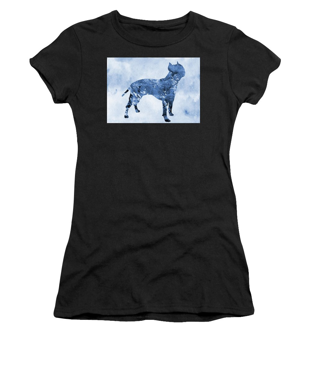 Amstaff Women's T-Shirt (Athletic Fit) featuring the digital art Amstaff-blue by Erzebet S