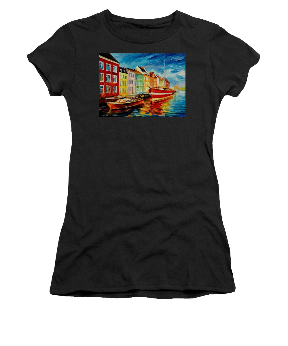 Afremov Women's T-Shirt featuring the painting Amsterdam - City Dock by Leonid Afremov