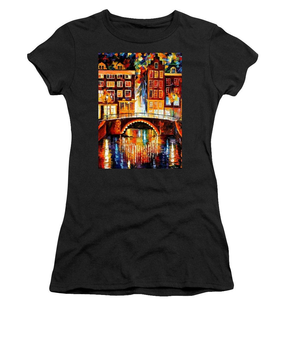 Afremov Women's T-Shirt featuring the painting Amsterdam - Little Bridge by Leonid Afremov