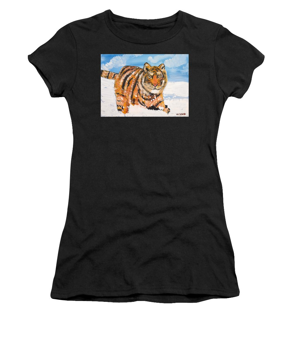 Cat Women's T-Shirt (Athletic Fit) featuring the painting Amur Tiger by Valerie Ornstein