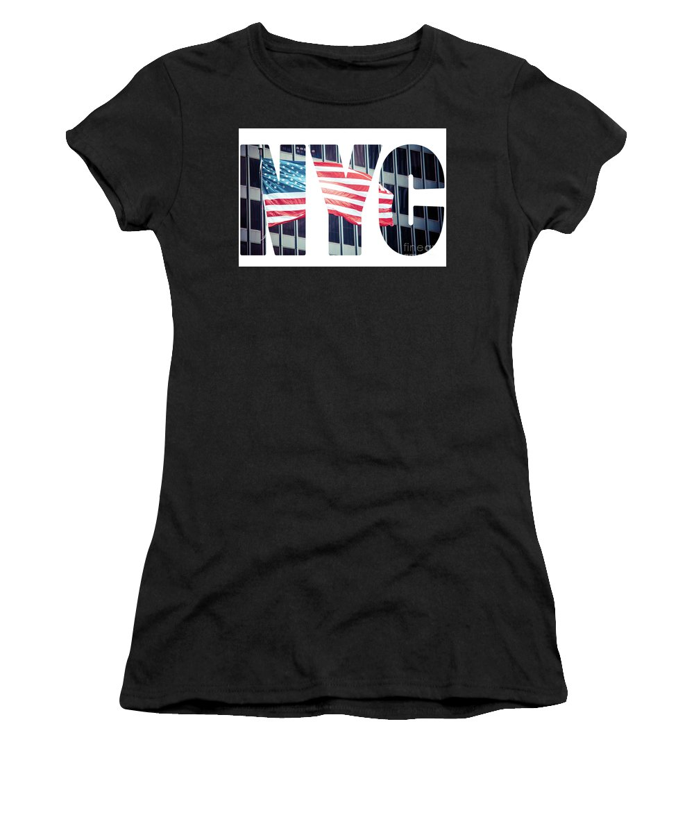 Stock Women's T-Shirt (Athletic Fit) featuring the photograph An American Flag In New York. by Mariusz Prusaczyk