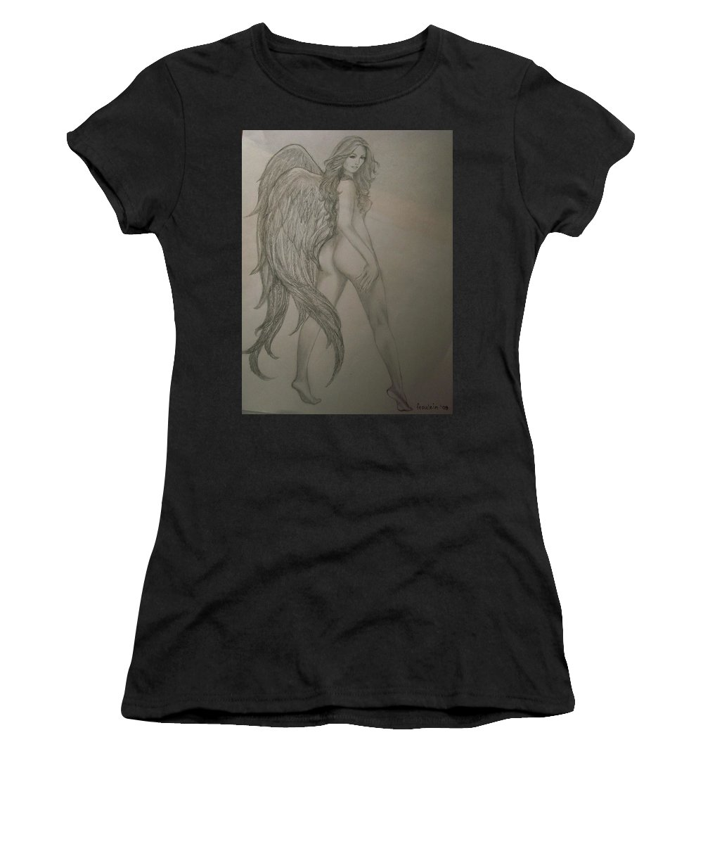 Angel Women's T-Shirt (Athletic Fit) featuring the drawing An Angel by Glory Fraulein Wolfe