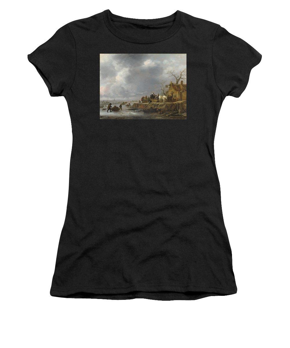 Follower Women's T-Shirt (Athletic Fit) featuring the digital art An Inn By A Frozen River by PixBreak Art