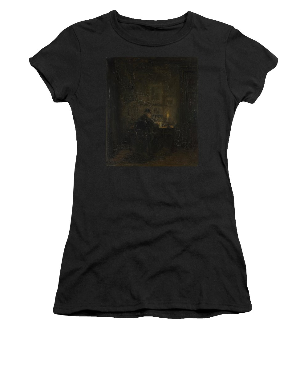 Jozef Women's T-Shirt (Athletic Fit) featuring the digital art An Old Man Writing By Candlelight by PixBreak Art