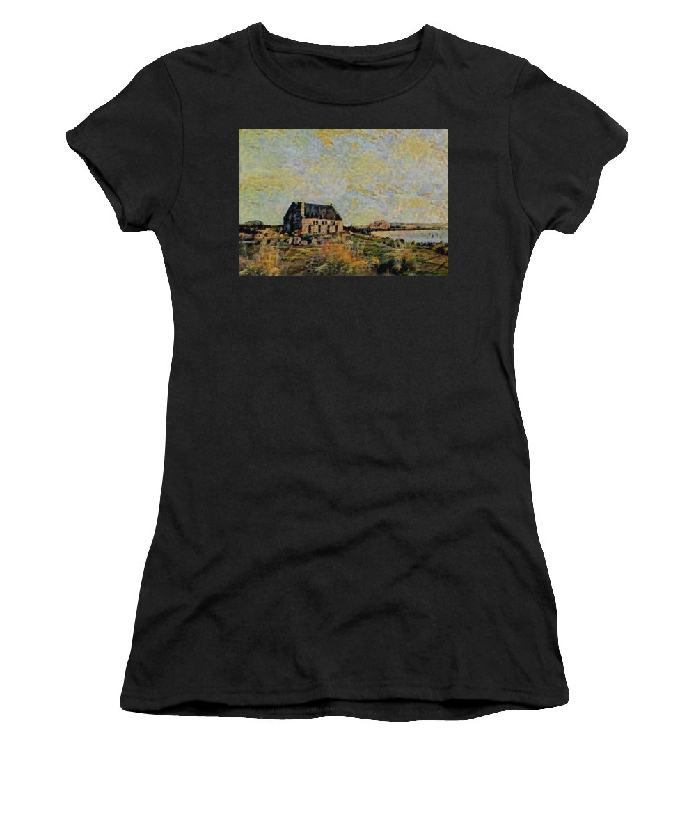 Amsterdam Women's T-Shirt featuring the digital art An Old Scottish Cottage Overlooking A Loch L B by Gert J Rheeders