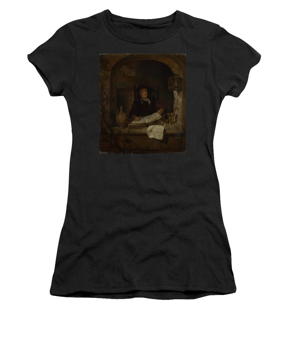 Gabriel Women's T-Shirt (Athletic Fit) featuring the digital art An Old Woman With A Book by PixBreak Art
