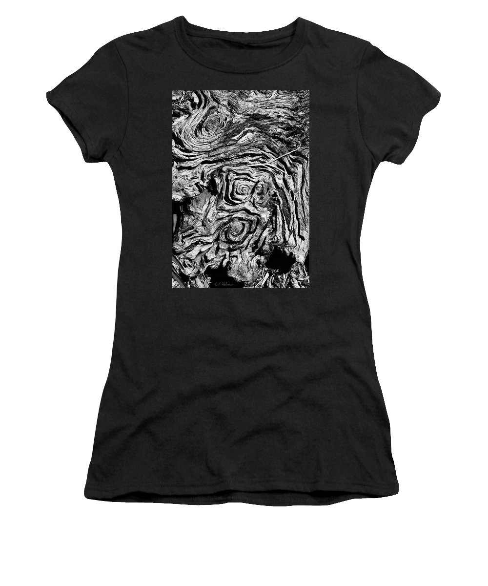 Tree Women's T-Shirt (Athletic Fit) featuring the photograph Ancient Stump by Christopher Holmes