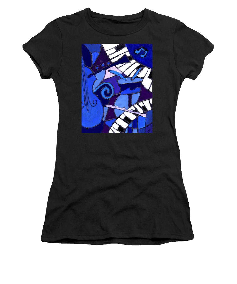 Blues Women's T-Shirt (Athletic Fit) featuring the painting and All that Jazz 3 by Wayne Potrafka