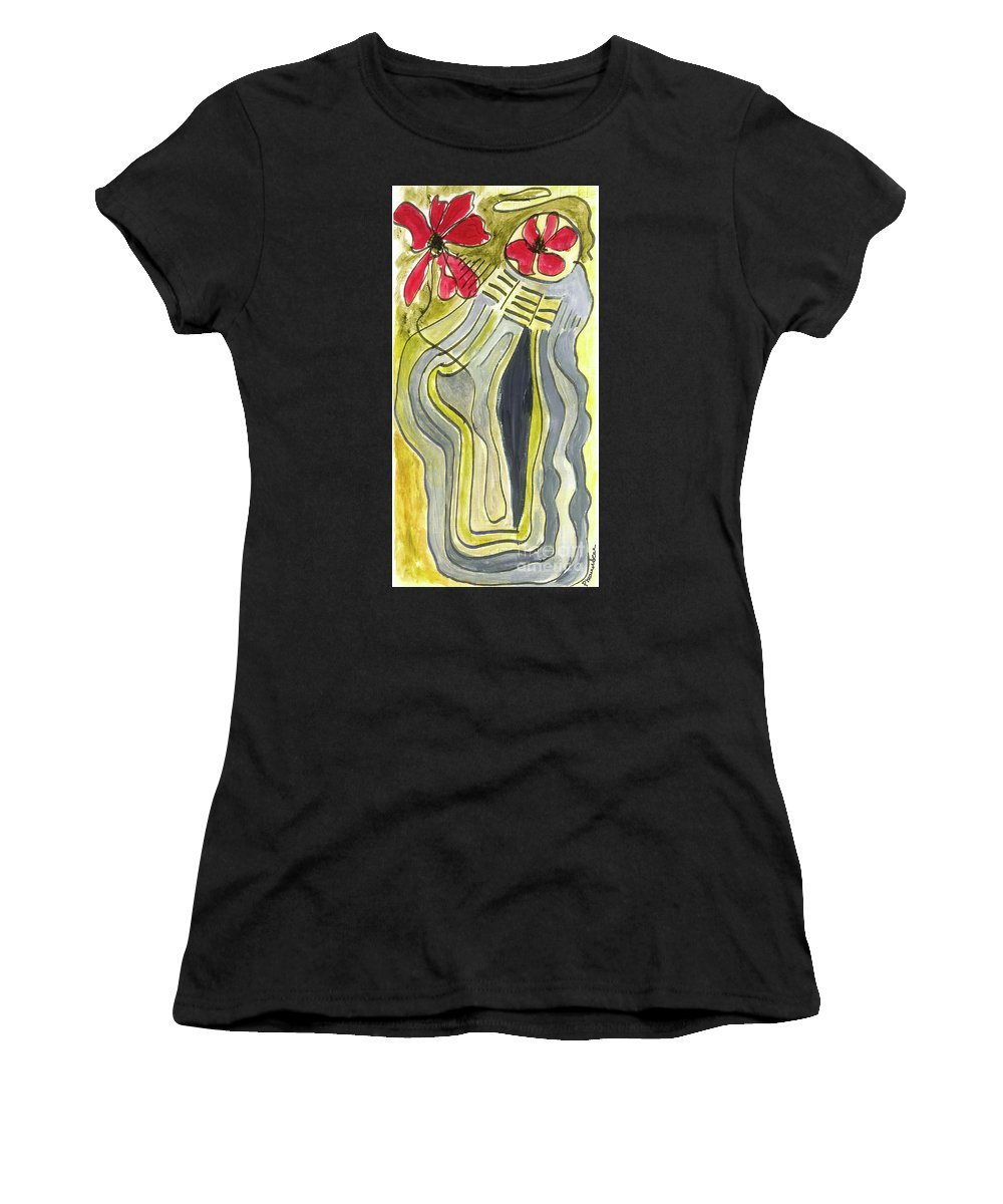 Family Women's T-Shirt (Athletic Fit) featuring the painting And Baby Makes Three by Peggy Maunsell