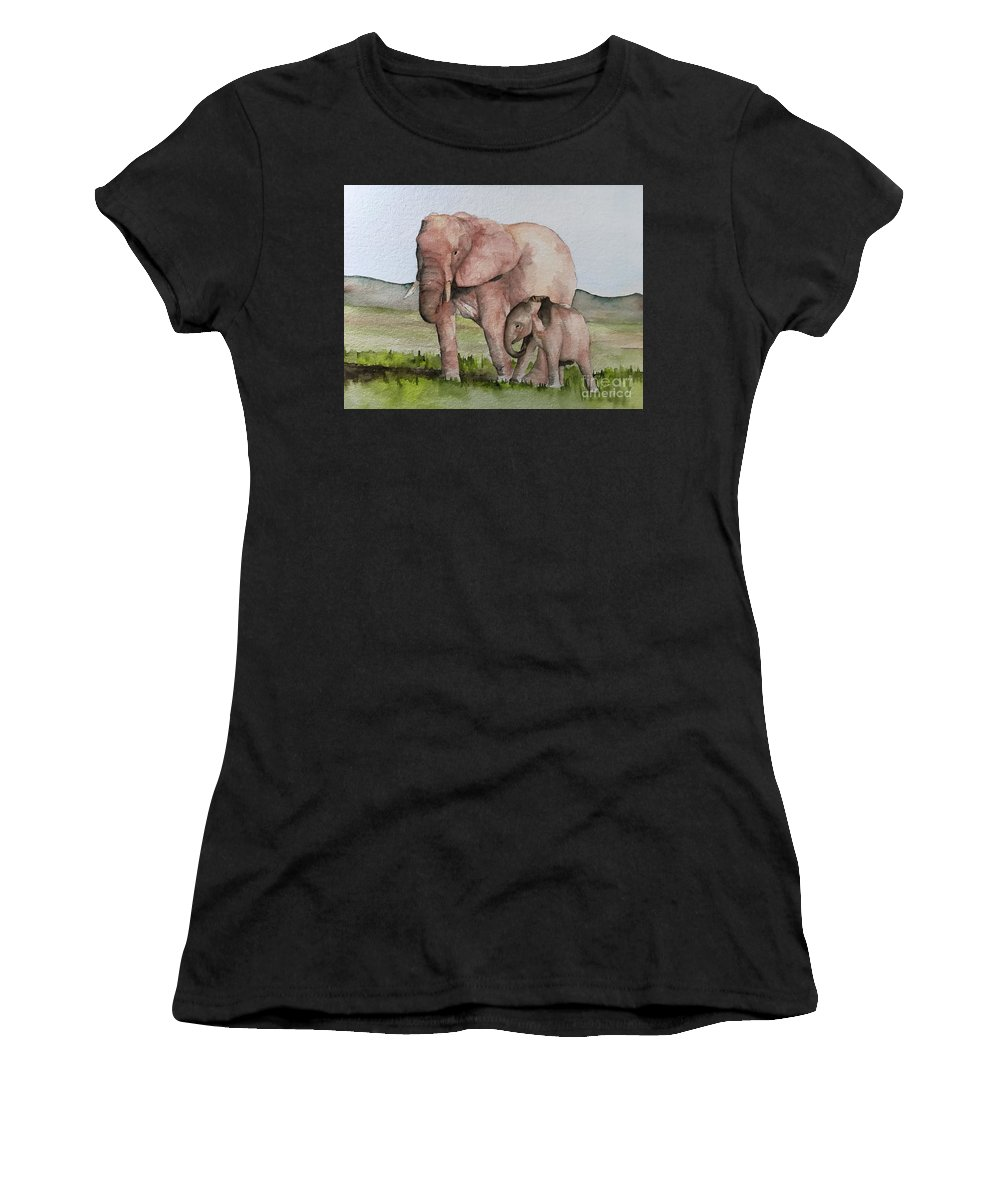 Elephants Women's T-Shirt (Athletic Fit) featuring the painting Andrea's Elephants by Judith Rice
