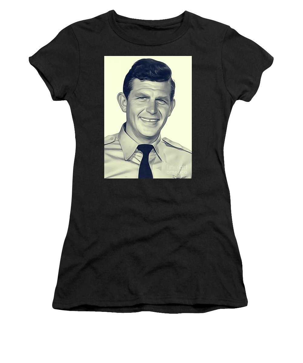 Andy Women's T-Shirt (Athletic Fit) featuring the digital art Andy Griffith, Vintage Actor by John Springfield
